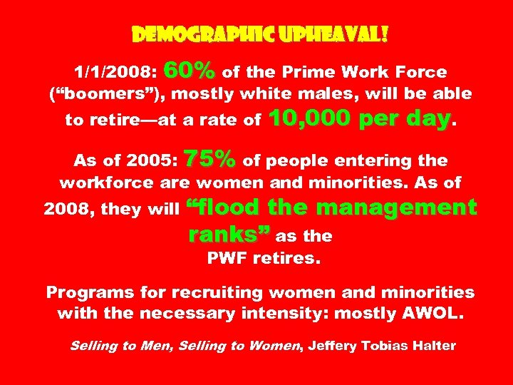 """Demographic Upheaval! 1/1/2008: 60% of the Prime Work Force (""""boomers""""), mostly white males, will"""