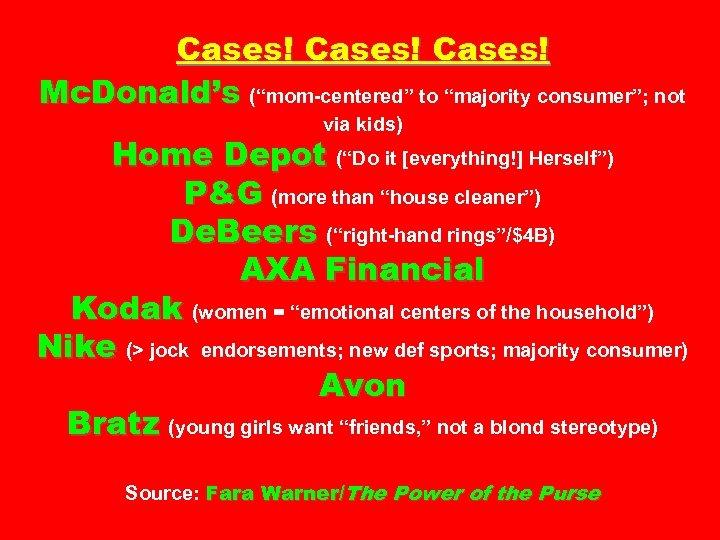 "Cases! Mc. Donald's (""mom-centered"" to ""majority consumer""; not via kids) Home Depot (""Do it"