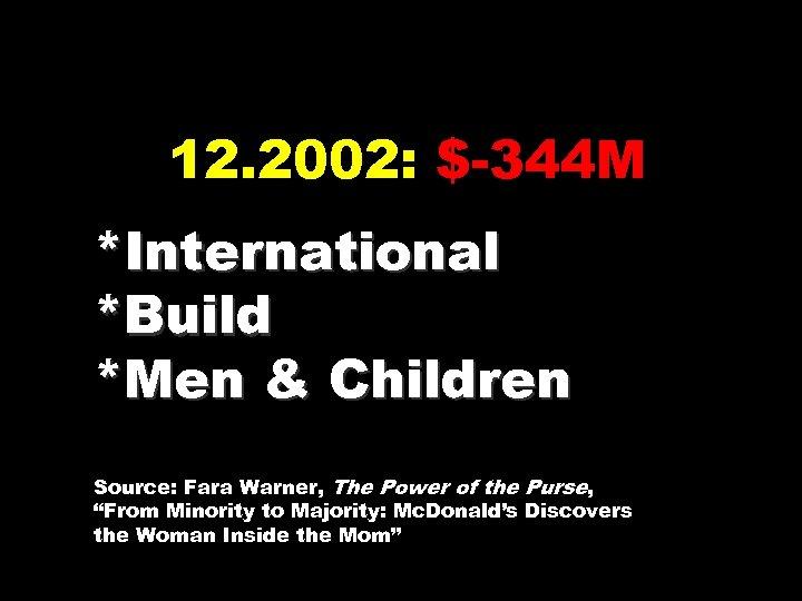 12. 2002: $-344 M *International *Build *Men & Children Source: Fara Warner, The Power