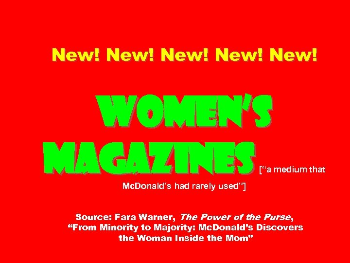 "New! New! Women's magazines [""a medium that Mc. Donald's had rarely used""] Source: Fara"