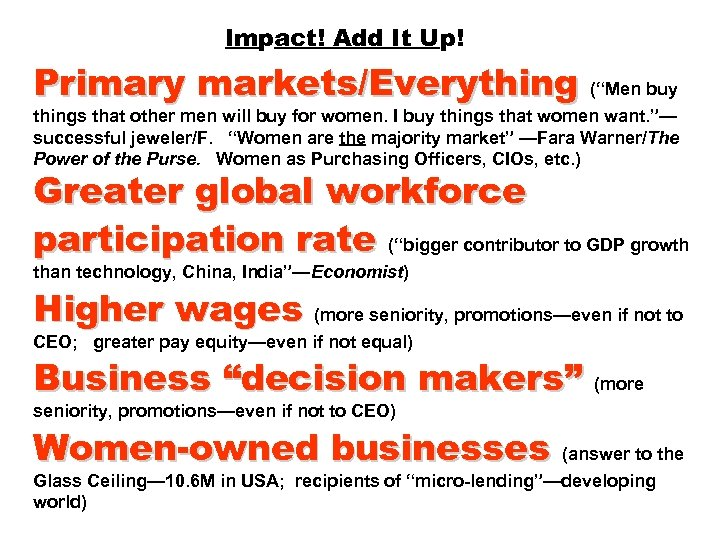 """Impact! Add It Up! Primary markets/Everything (""""Men buy things that other men will buy"""