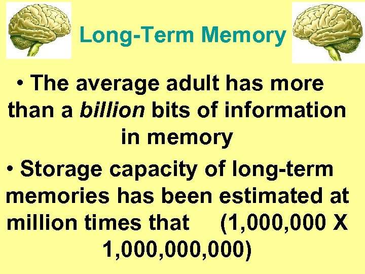 Long-Term Memory • The average adult has more than a billion bits of information