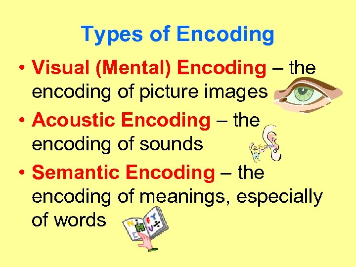 Types of Encoding • Visual (Mental) Encoding – the encoding of picture images •