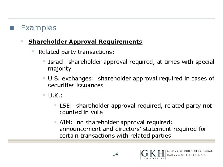 Examples § Shareholder Approval Requirements § Related party transactions: § Israel: shareholder approval required,