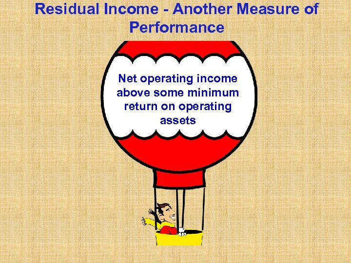 Residual Income - Another Measure of Performance Net operating income above some minimum return