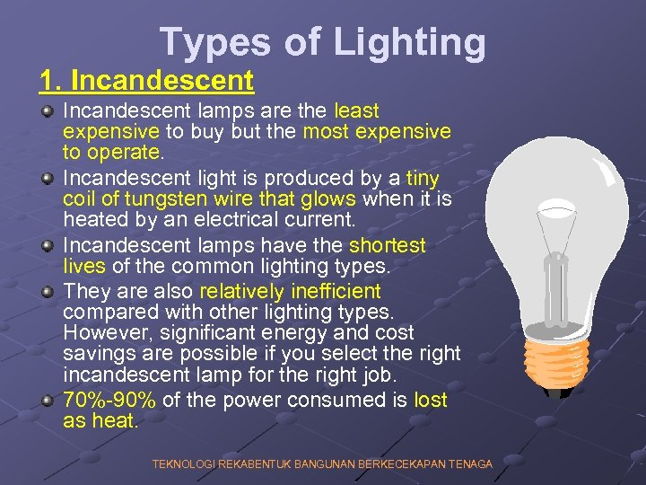 Types of Lighting 1. Incandescent lamps are the least expensive to buy but the