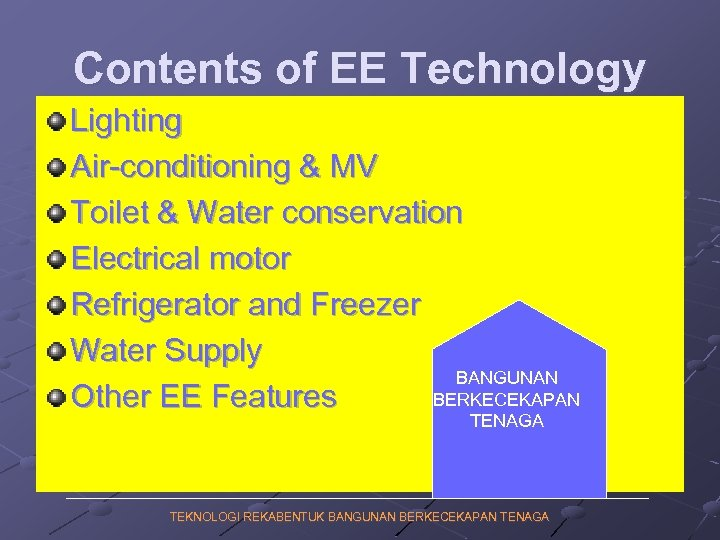 Contents of EE Technology Lighting Air-conditioning & MV Toilet & Water conservation Electrical motor