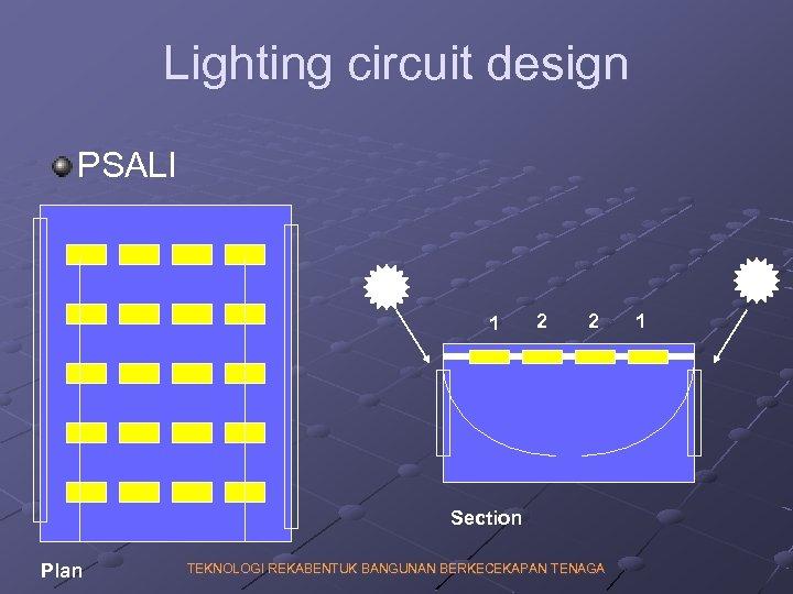 Lighting circuit design PSALI 1 2 2 Section Plan TEKNOLOGI REKABENTUK BANGUNAN BERKECEKAPAN TENAGA
