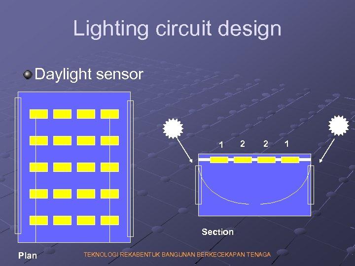 Lighting circuit design Daylight sensor 1 2 2 Section Plan TEKNOLOGI REKABENTUK BANGUNAN BERKECEKAPAN