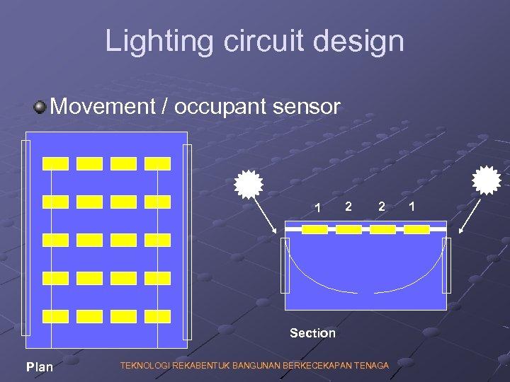Lighting circuit design Movement / occupant sensor 1 2 2 Section Plan TEKNOLOGI REKABENTUK