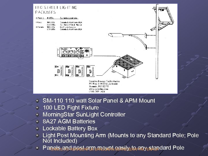 SM-110 watt Solar Panel & APM Mount 100 LED Fight Fixture Morning. Star Sun.
