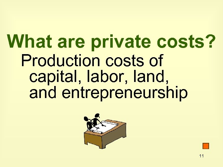 What are private costs? Production costs of capital, labor, land, and entrepreneurship 11