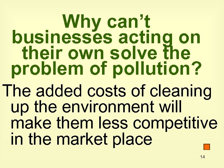Why can't businesses acting on their own solve the problem of pollution? The added