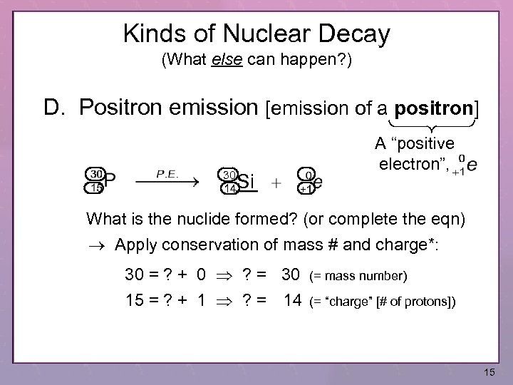 Kinds of Nuclear Decay (What else can happen? ) D. Positron emission [emission of