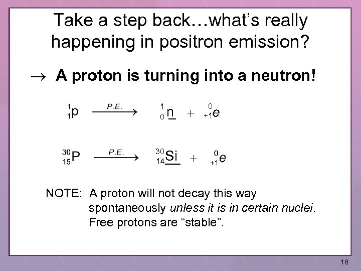 Take a step back…what's really happening in positron emission? A proton is turning into