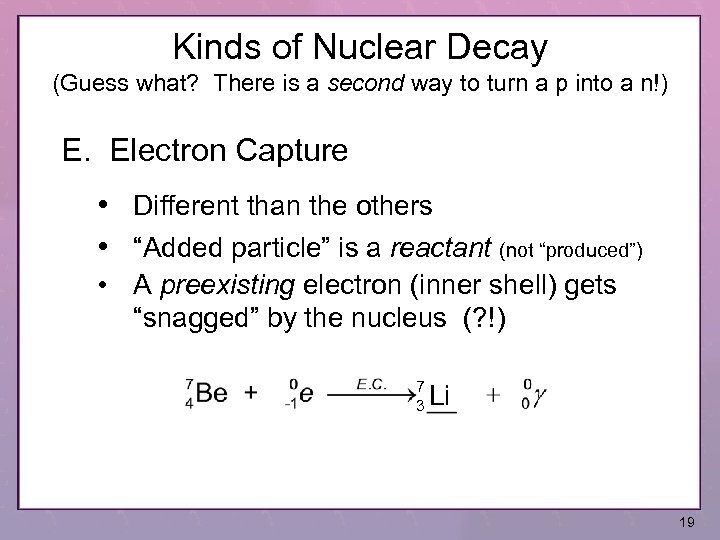 Kinds of Nuclear Decay (Guess what? There is a second way to turn a