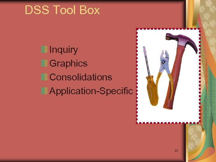 DSS Tool Box Inquiry Graphics Consolidations Application-Specific 22