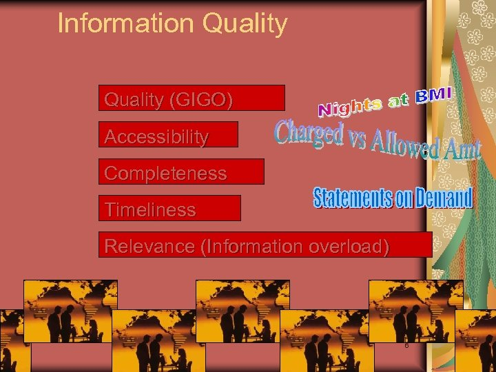 Information Quality (GIGO) Accessibility Completeness Timeliness Relevance (Information overload) 6