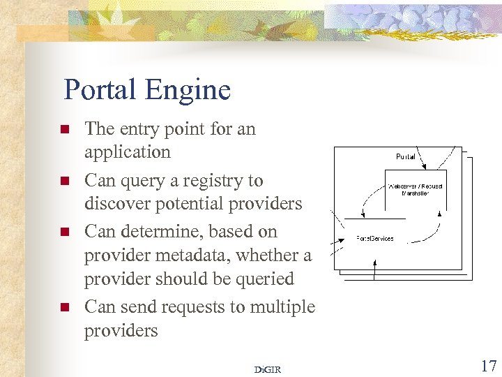 Portal Engine n n The entry point for an application Can query a registry