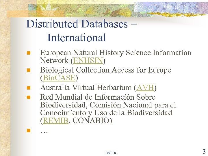 Distributed Databases – International n n n European Natural History Science Information Network (ENHSIN)