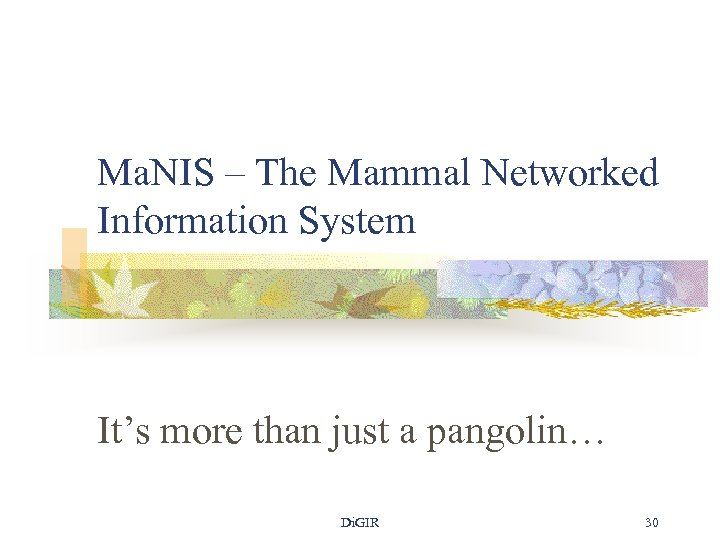 Ma. NIS – The Mammal Networked Information System It's more than just a pangolin…