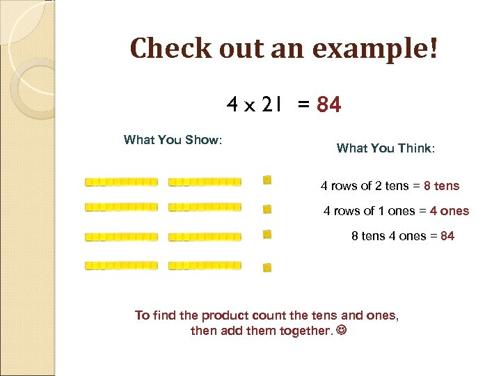 Check out an example! 4 x 21 = 84 What You Show: What You
