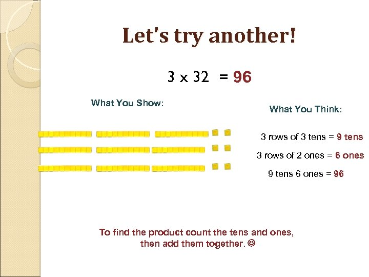 Let's try another! 3 x 32 = 96 What You Show: What You Think:
