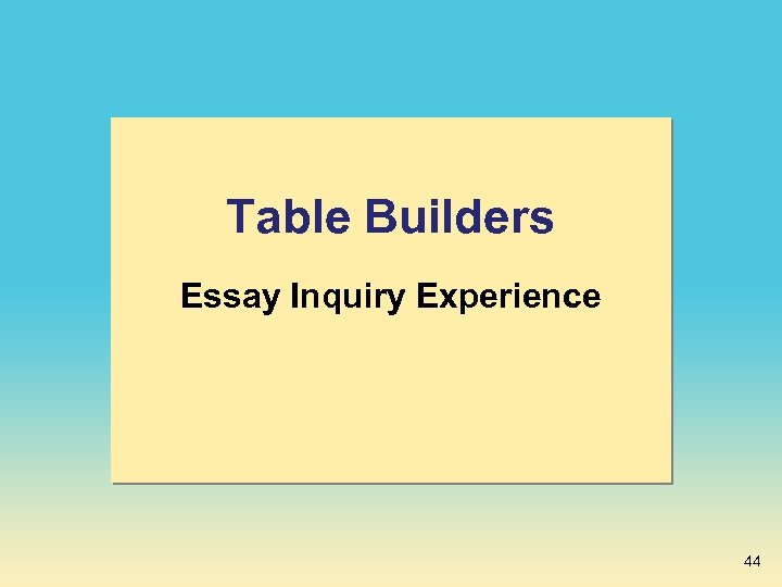 Table Builders Essay Inquiry Experience 44