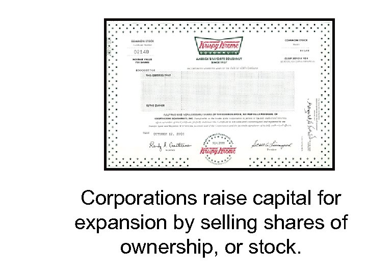 Corporations raise capital for expansion by selling shares of ownership, or stock.