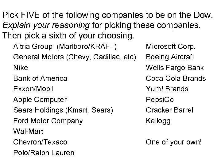 Pick FIVE of the following companies to be on the Dow. Explain your reasoning