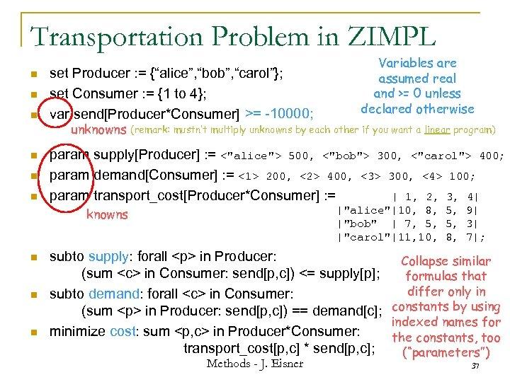 "Transportation Problem in ZIMPL n n n set Producer : = {""alice"", ""bob"", ""carol""};"