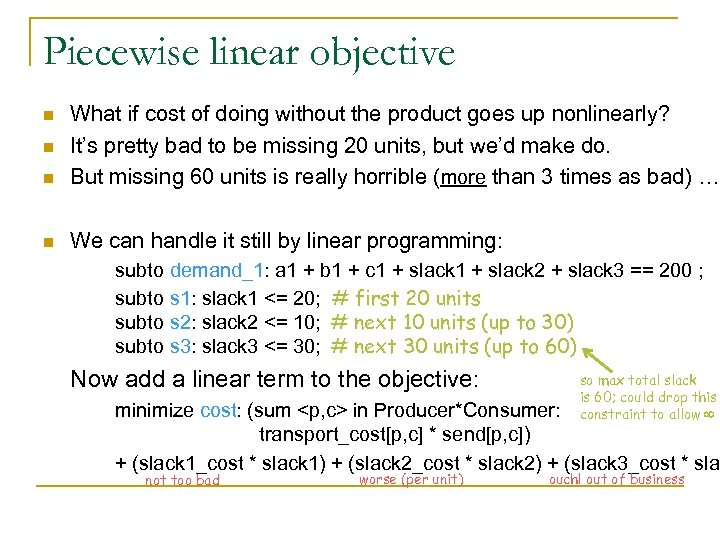 Piecewise linear objective n What if cost of doing without the product goes up