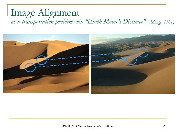 "Image Alignment as a transportation problem, via ""Earth Mover's Distance"" 600. 325/425 Declarative Methods"