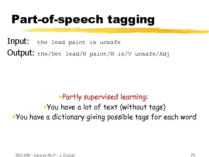 Part-of-speech tagging Input: the lead paint Output: the/Det lead/N is unsafe paint/N is/V unsafe/Adj