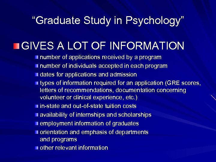 """""""Graduate Study in Psychology"""" GIVES A LOT OF INFORMATION number of applications received by"""