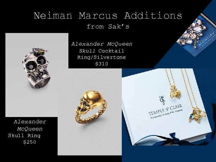 Neiman Marcus Additions from Sak's Alexander Mc. Queen Skull Cocktail Ring/Silvertone $310 Alexander Mc.