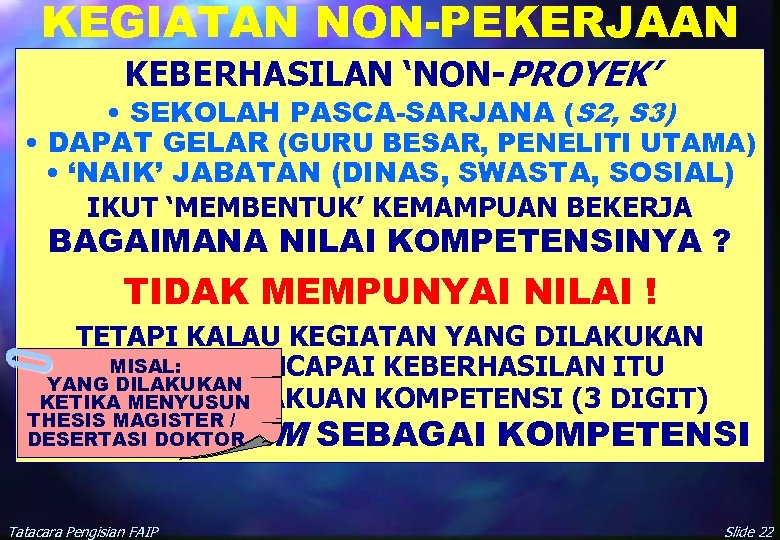 KEGIATAN NON-PEKERJAAN KEBERHASILAN 'NON-PROYEK' • SEKOLAH PASCA-SARJANA (S 2, S 3) • DAPAT GELAR