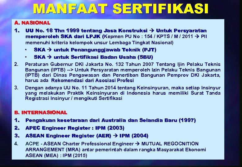 MANFAAT SERTIFIKASI A. NASIONAL 1. UU No. 18 Thn 1999 tentang Jasa Konstruksi Untuk