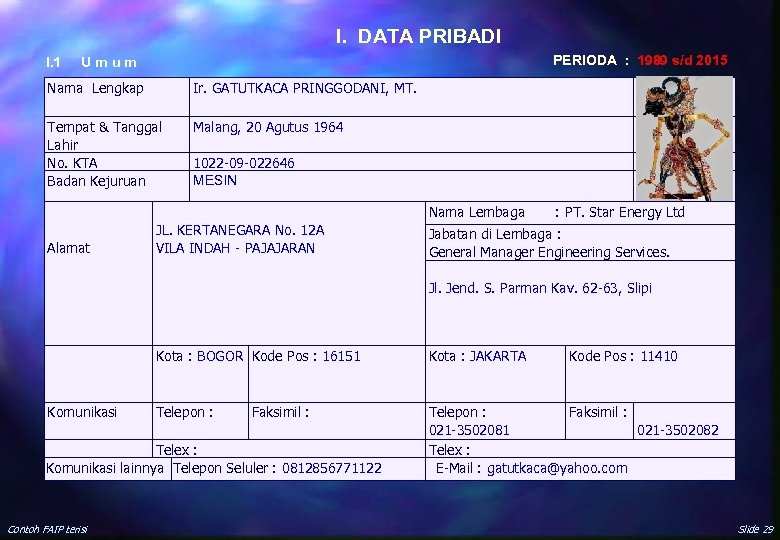 I. DATA PRIBADI I. 1 PERIODA : 1989 s/d 2015 U m u m