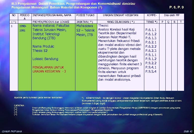 III. 3 Pengalaman Dalam Penelitian, Pengembangan dan Komersialisasi dan/atau Pengalaman Menangani Bahan Material dan