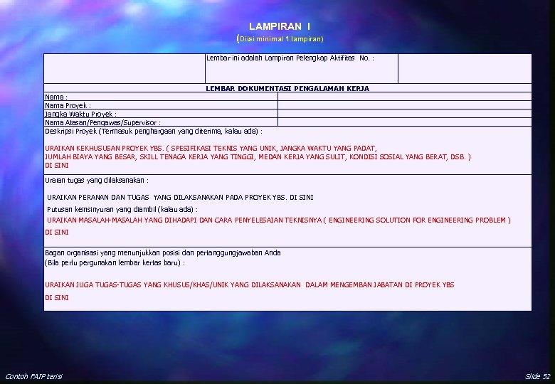 LAMPIRAN I (Diisi minimal 1 lampiran) Lembar ini adalah Lampiran Pelengkap Aktifitas No. :