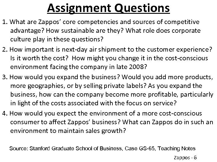 Assignment Questions 1. What are Zappos' core competencies and sources of competitive advantage? How