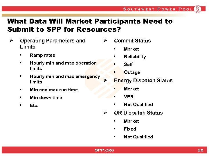 What Data Will Market Participants Need to Submit to SPP for Resources? Ø Ø