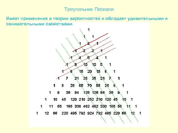 Треугольник Паскаля Имеет применение в теории вероятностей и обладает удивительными и занимательными свойствами.