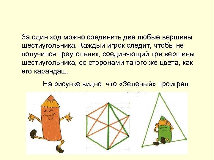 За один ход можно соединить две любые вершины шестиугольника. Каждый игрок следит, чтобы не