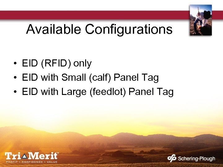Available Configurations • EID (RFID) only • EID with Small (calf) Panel Tag •