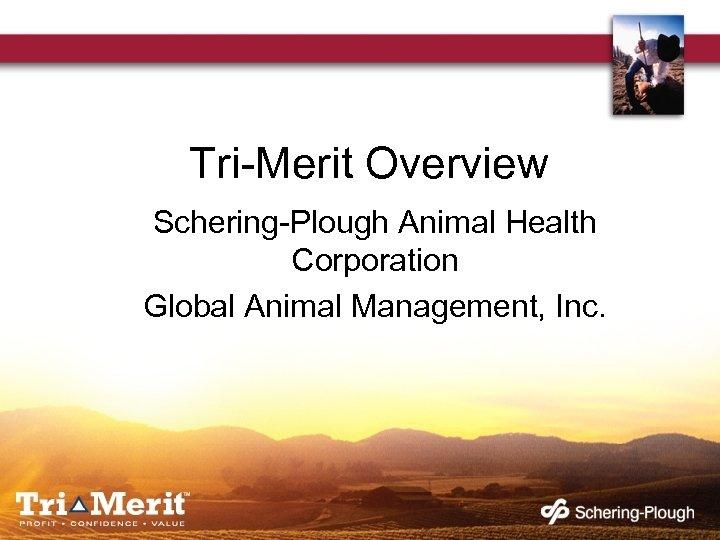 Tri-Merit Overview Schering-Plough Animal Health Corporation Global Animal Management, Inc.