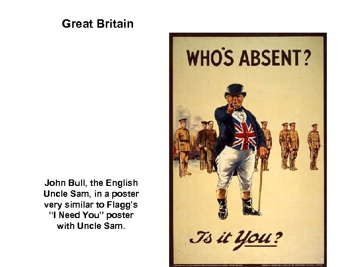 Great Britain John Bull, the English Uncle Sam, in a poster very similar to