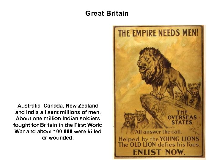 Great Britain Australia, Canada, New Zealand India all sent millions of men. About one