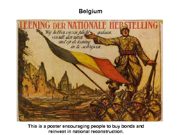 Belgium This is a poster encouraging people to buy bonds and reinvest in national